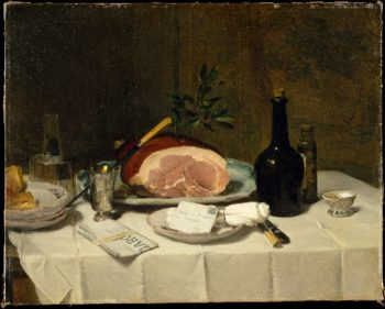 Still Life with Ham (1870s) | Philippe Rousseau | oil painting