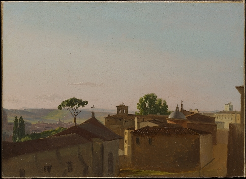 View on the Quirinal Hill Rome (1800)   Simon Denis   oil painting