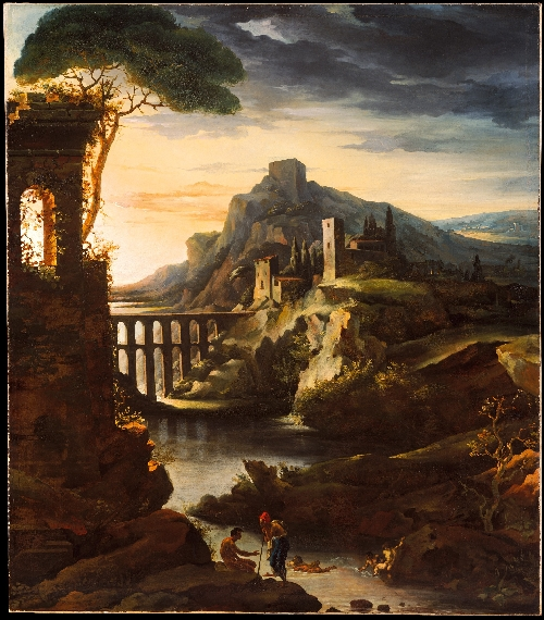 Evening Landscape with an Aqueduct (1818) | Theodore Gericault | oil painting