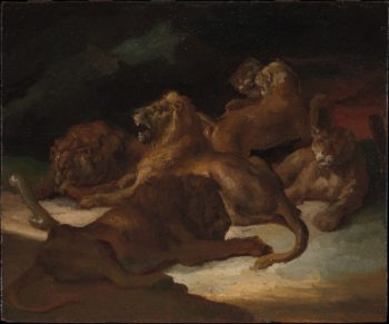 Lions in a Mountainous Landscape (ca 1818-1820) | Theodore Gericault | oil painting