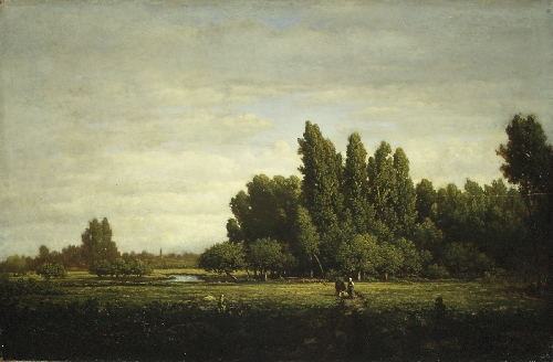 A Meadow Bordered by Trees (ca 1845) | Theodore Rousseau | oil painting