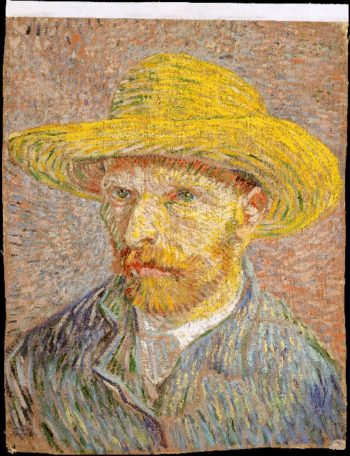 Self-Portrait with a Straw Hat (1887) | Vincent van Gogh | oil painting