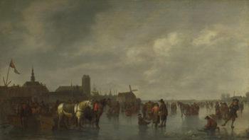 Scene on the Ice outside Dordrecht | Abraham van Calraet | oil painting