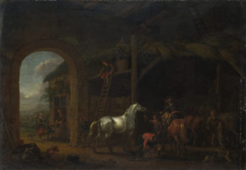 The Interior of a Stable | Abraham van Calraet | oil painting