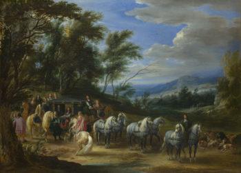 Philippe Francois d-Arenberg meeting Troops | Adam-Francois van der Meulen | oil painting