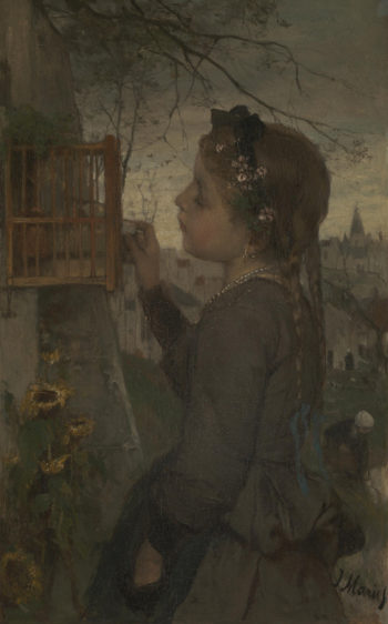 A Girl feeding a Bird in a Cage | Jacob Maris | oil painting