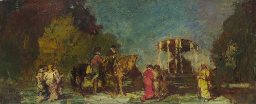 Fountain in a Park | Adolphe Monticelli | oil painting