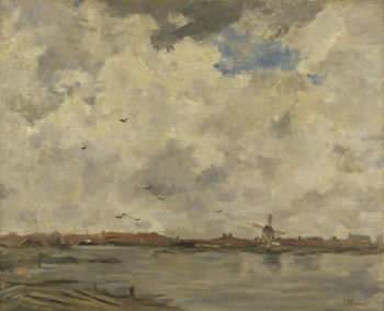 A Windmill and Houses beside Water | Jacob Maris | oil painting