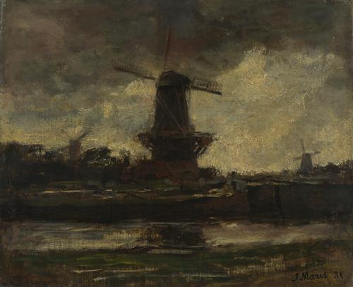 Three Windmills   Jacob Maris   oil painting