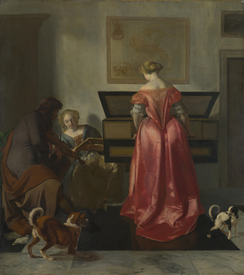 Two Women and a Man making Music   Jacob Ochtervelt   oil painting