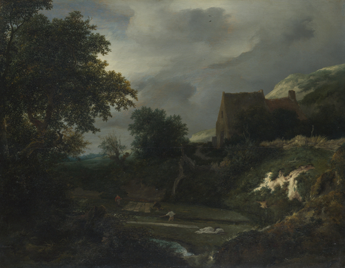 A Bleaching Ground in a Hollow by a Cottage | Jacob van Ruisdael | oil painting