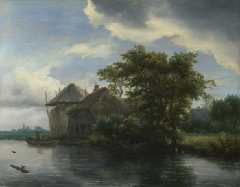A Cottage and a Hayrick by a River | Jacob van Ruisdael | oil painting