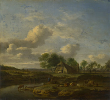 A Landscape with a Farm by a Stream | Adriaen van de Velde | oil painting