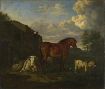 Animals near a Building | Adriaen van de Velde | oil painting