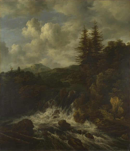 A Landscape with a Waterfall and a Castle on a Hill | Jacob van Ruisdael | oil painting