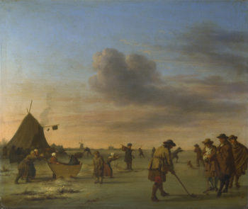 Golfers on the Ice near Haarlem | Adriaen van de Velde | oil painting