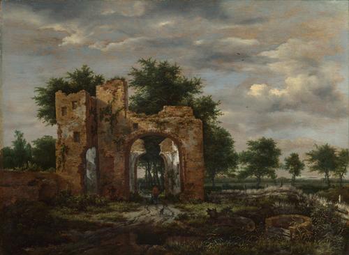 A Ruined Castle Gateway   Jacob van Ruisdael   oil painting