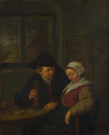 A Peasant courting an Elderly Woman | Adriaen van Ostade | oil painting