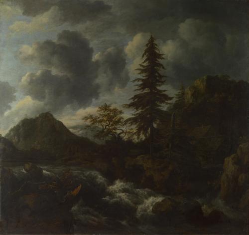 A Torrent in a Mountainous Landscape   Jacob van Ruisdael   oil painting