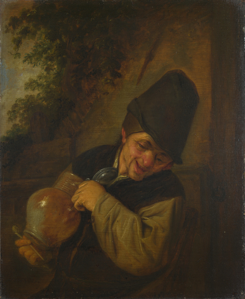 A Peasant holding a Jug and a Pipe | Adriaen van Ostade | oil painting