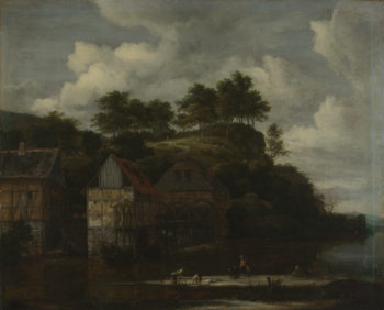 Three Watermills with Washerwomen | Jacob van Ruisdael | oil painting