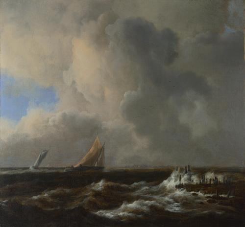 Vessels in a Fresh Breeze | Jacob van Ruisdael | oil painting