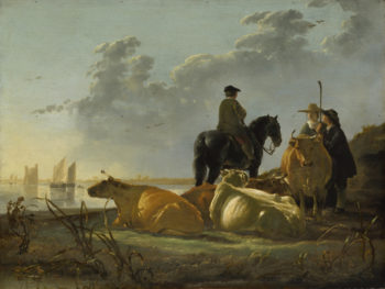 Peasants and Cattle by the River Merwede | Aelbert Cuyp | oil painting