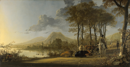 River Landscape with Horseman and Peasants | Aelbert Cuyp | oil painting