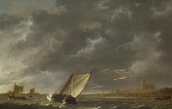 The Maas at Dordrecht in a Storm | Aelbert Cuyp | oil painting