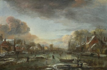 A Frozen River by a Town at Evening | Aert van der Neer | oil painting