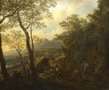 A Rocky Italian Landscape with Herdsmen and Muleteers | Jan Both | oil painting