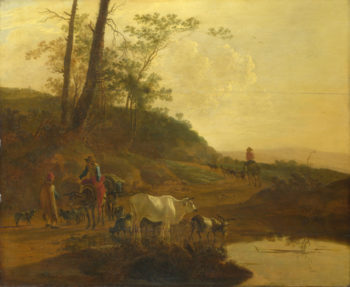 Men with an Ox and Cattle by a Pool | Jan Both | oil painting