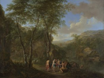 A Landscape with the Judgement of Paris | Jan Both and Cornelis van Poelenburgh | oil painting