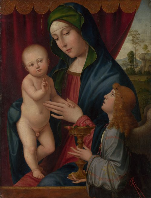 The Virgin and Child with an Angel | After Francesco Francia | oil painting