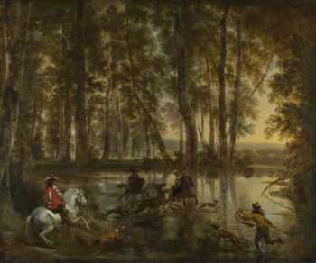 A Stag Hunt in a Forest | Jan Hackaert and Nicolaes Berchem | oil painting