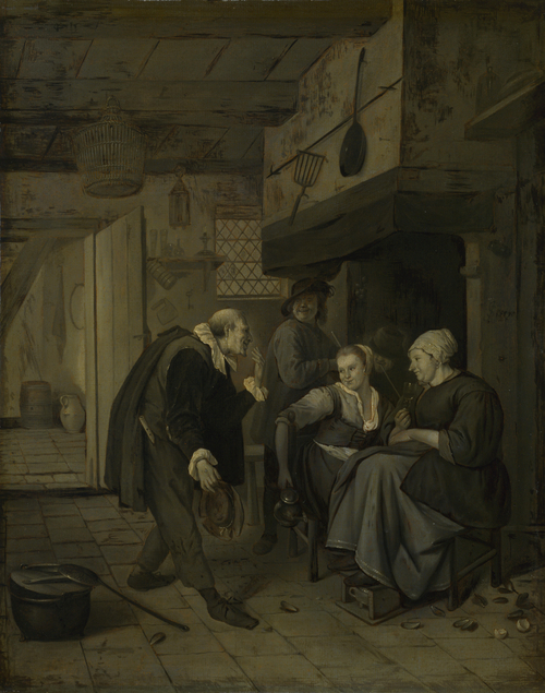 An Itinerant Musician saluting Two Women in a Kitchen | After Jan Steen | oil painting