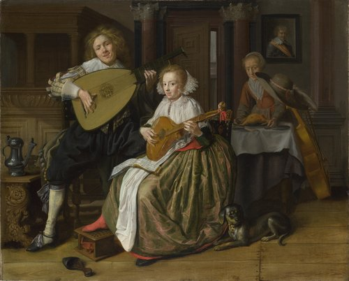 A Young Man and Woman making Music   Jan Molenaer   oil painting