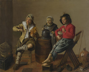 Two Boys and a Girl making Music | Jan Molenaer | oil painting