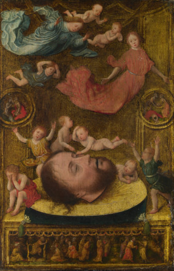 The Head of Saint John the Baptist   Jan Mostaert   oil painting
