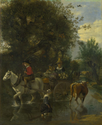 A Cowherd passing a Horse and Cart in a Stream | Jan Siberechts | oil painting