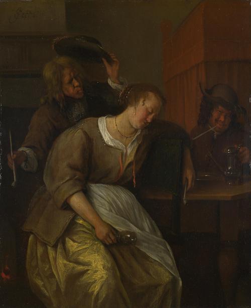 A Man Blowing Smoke at Drunken Woman | Jan Steen | oil painting