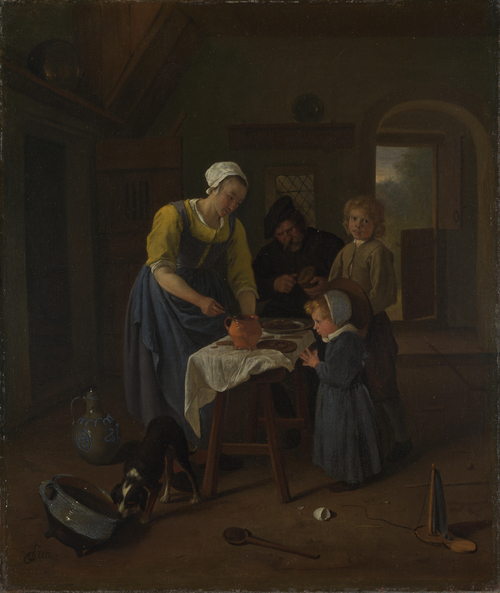 A Peasant Family at Meal-time (Grace before Meat) | Jan Steen | oil painting