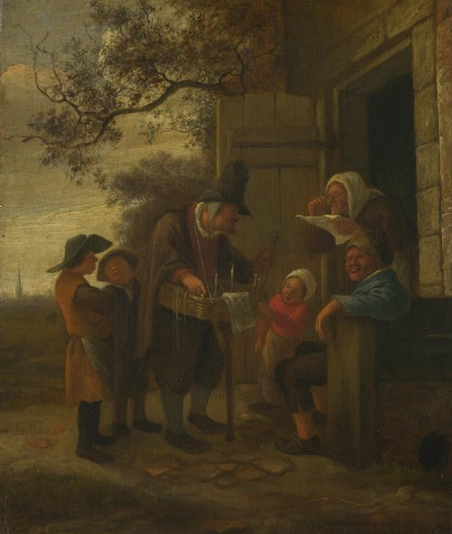 A Pedlar selling Spectacles outside a Cottage   Jan Steen   oil painting