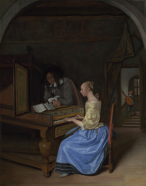 A Young Woman playing a Harpsichord to a Young Man | Jan Steen | oil painting