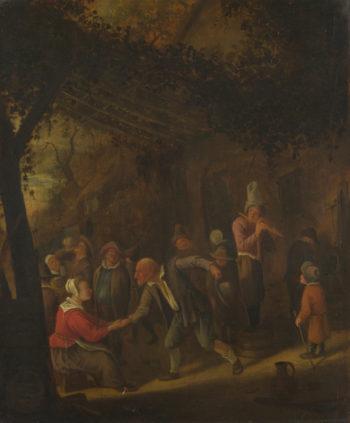 Peasants merry-making outside an Inn | Jan Steen | oil painting