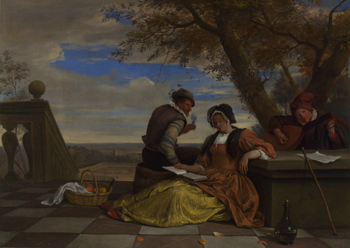 Two Men and a Young Woman making Music on a Terrace | Jan Steen | oil painting