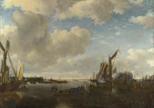 A River Scene with a Dutch Yacht firing a Salute   Jan van de Cappelle   oil painting