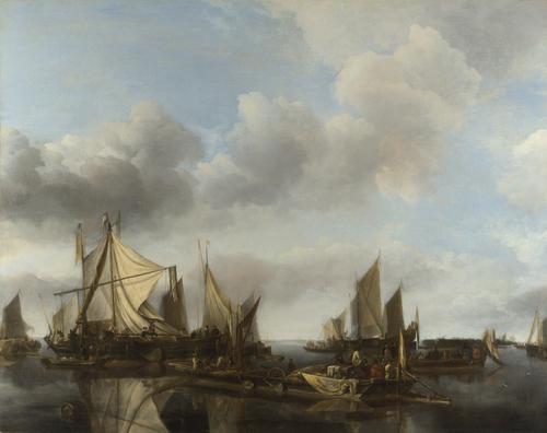 A River Scene with a Large Ferry | Jan van de Cappelle | oil painting