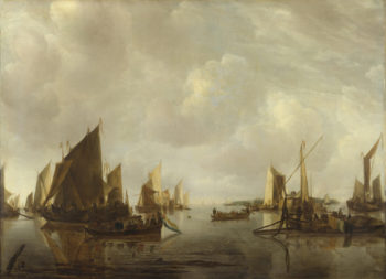 A River Scene with Dutch Vessels Becalmed | Jan van de Cappelle | oil painting