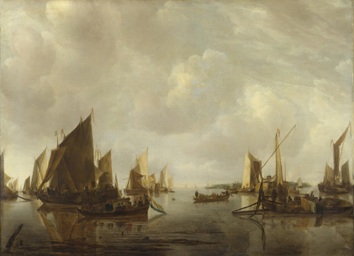 A River Scene with Dutch Vessels Becalmed   Jan van de Cappelle   oil painting
